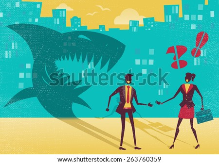 Great illustration of a businessman who is exposed as a shark in real life by a clever businesswoman who sees right through his clever disguise. He is not what he seems to be. - stock photo