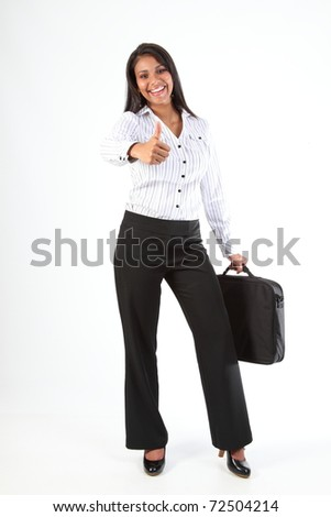 Great job thumbs up from beautiful young business woman