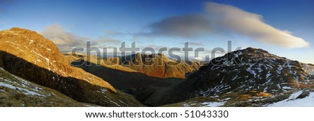 Great Knott, Langdale Pikes and Pike O Blisco, English Lake District - stock photo