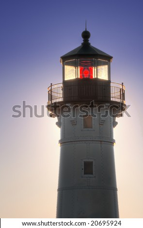 Great Lake Harbor Lighthouse - Duluth Minnesota - focus on light coming through lighthouse bulb