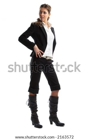 Great looking blond business woman shot in studio - looking right - stock photo