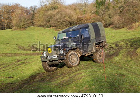 GREAT MALVERN, UK - DECEMBER 8: A Land Rover competing in the MROC off road championship negotiates a downward bank at the Croft Farm venue on December 8, 2013 in Great Malvern