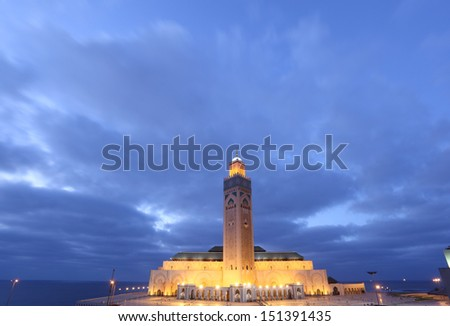 Great Mosque Hassan II in Casablanca, Morocco, North Africa - stock photo