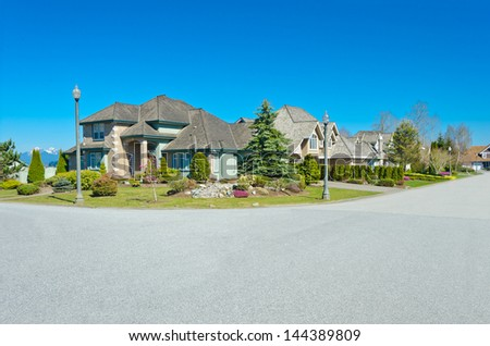 Great neighborhood. A homes in suburbs  in the North America - stock photo