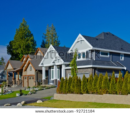 Great neighborhood. A homes  in suburbs of the north America. Vancouver. - stock photo