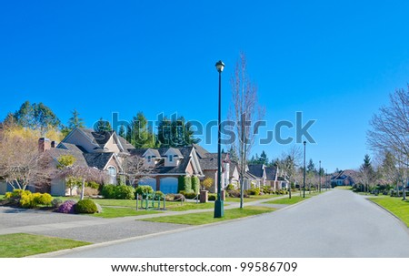 Great neighborhood. Line of the of homes  in surburbs of Vancouver. Canada.