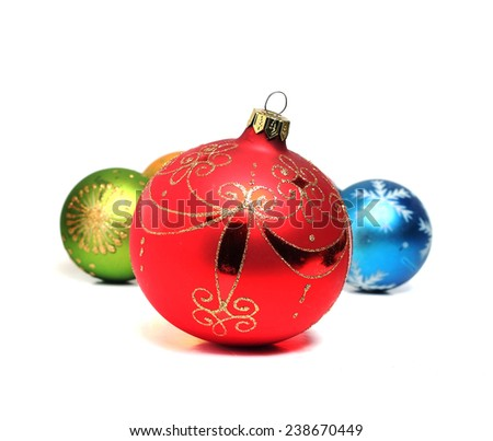 great New Year red ball on a white background