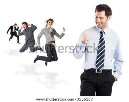 Great news - Businessman receives wonderful news- check my portfolio for similar photos - stock photo