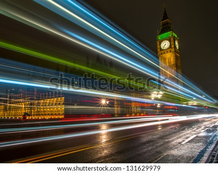 great night light in london Bigben tower with green light with blue light.