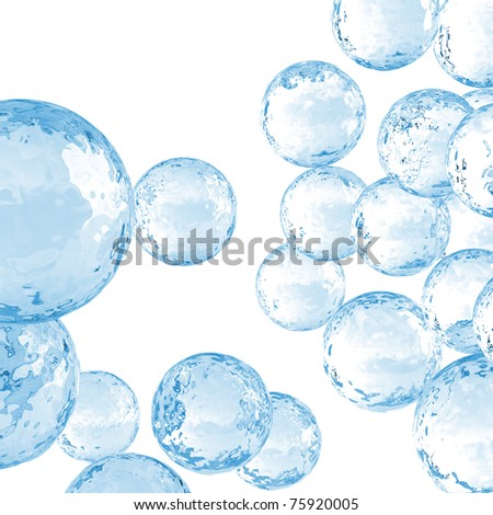 great number of transparent bubbles on a white background - stock photo