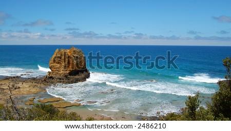 Great Ocean Road coast panorama - stock photo