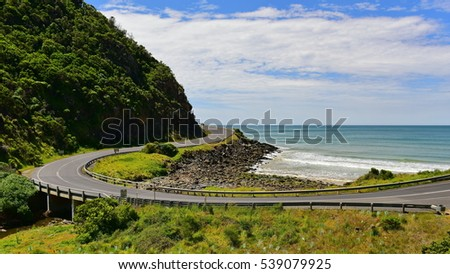 Great Ocean Road hugging the coastline in Victoria, Australia