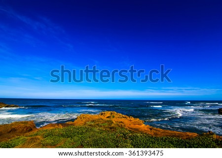 Great ocean road sea and blue sky Australia  - stock photo
