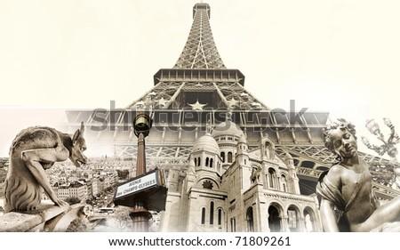 great parisian landmarks touristic collage stock illustration
