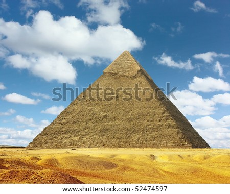 Great pyramid and blue sky with cllouds