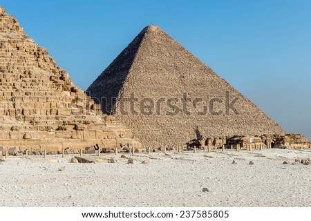 Great Pyramid of Giza (Pyramid of Khufu or the Pyramid of Cheops), the oldest and largest of the three pyramids in the Giza Necropolis, the oldest one of the  Seven Wonders of the Ancient World