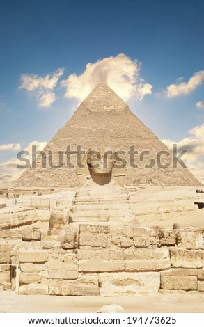 Great Pyramid of Pharaoh Khufu, located at Giza and the Sphinx. Egypt  - stock photo