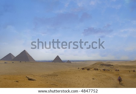 Great Pyramids view from panorama point of Giza plateau