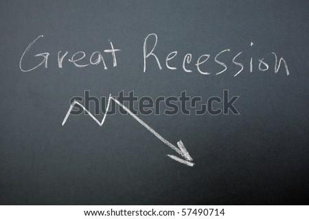 Great Recession graph on blackboard - stock photo