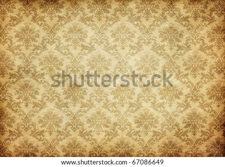 great retro background of some old dirty and grungy wallpaper - stock photo