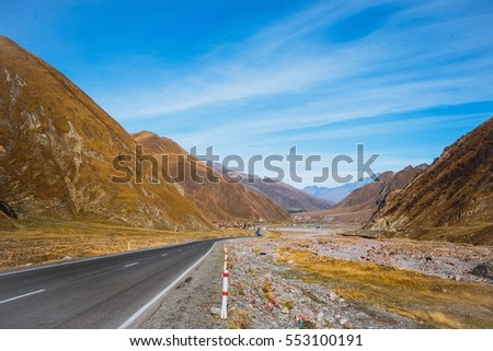 great road and beautiful mountains
