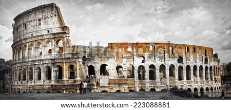 Great Rome, panorama of Colosseum - stock photo