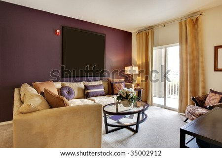 Great room with sofas and coffee table - stock photo