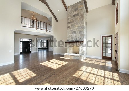 Great Room Two Story Stone Fireplace Stock Photo Royalty
