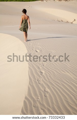 great sand dune at Cadiz Andalusia in Spain - stock photo