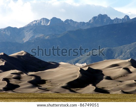 Great Sand Dunes National Park in southeastern Colorado - stock photo