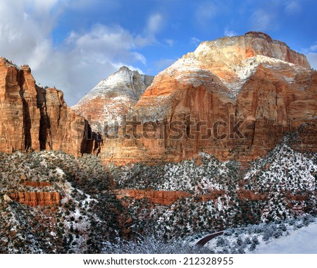 Great Sandstone Peaks In Winter Towering Above The Virgin River Just North Of Springdale Utah In Zion National Park, USA - stock photo