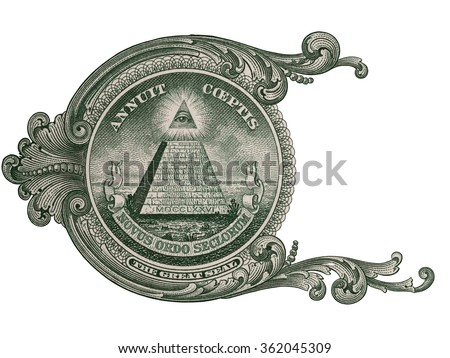 Great seal, US one dollar bill closeup macro, 1 usd banknote, united states money - stock photo
