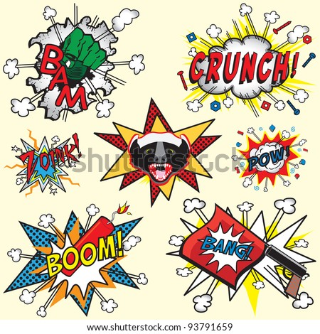 Great selection of Comic Book icons with Badger, Bang Gun, dynamite Boom, Hulk hand and others - stock photo