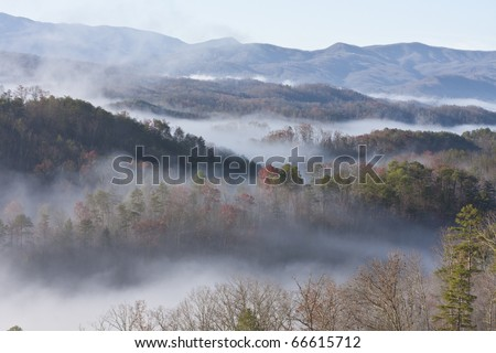 great smoky mountain national park a lot of fog great colors - stock photo