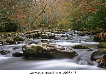 Great Smoky Mountain Stream in Autumn.  Shot using a slow shutter speed for silky effect.