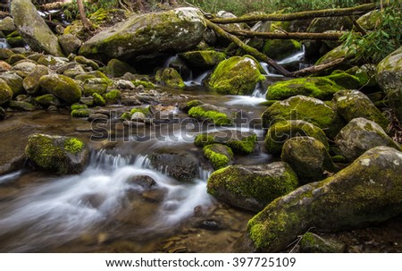 Great Smoky Mountain Stream. Stream flows through the wilderness of the America's most popular national park in the Great Smoky Mountains in Gatlinburg, Tennessee. - stock photo