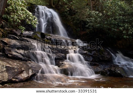 Great Smoky Mountains Laurel Falls in Spring Horizontal - stock photo