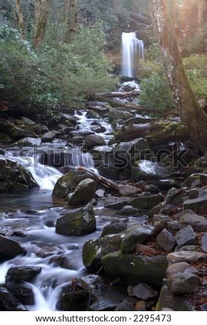Great Smoky Mountains National Park - Grotto Falls - stock photo