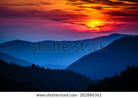 Great Smoky Mountains National Park Scenic Sunset Landscape vacation getaway destination - Gatlinburg Pigeon Forge TN  - stock photo