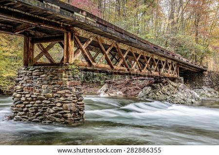 Great Smoky Mountains National Park - Stream near Cades Cove  - Gatlinburg Pigeon Forge TN - stock photo
