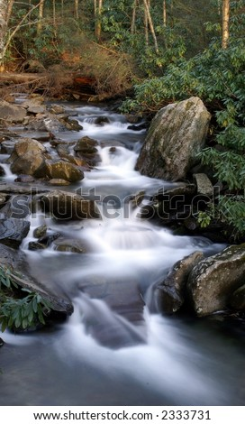 Great Smoky Mountains National Park - Stream with waterfalls - stock photo