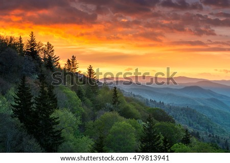Great Smoky Mountains Sunrise Outdoors Scenic Landscape between Gatlinburg TN and Cherokee NC