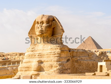 Great Sphinx of Giza, a limestone statue of a creature with a lion's body and a human head), Giza Plateau, West Bank of the Nile, Giza, Egypt