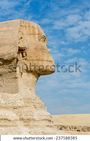 Great Sphinx of Giza, a limestone statue of a mythical creature with a lion's body and a human head), Giza Plateau, West Bank of the Nile, Giza, Egypt