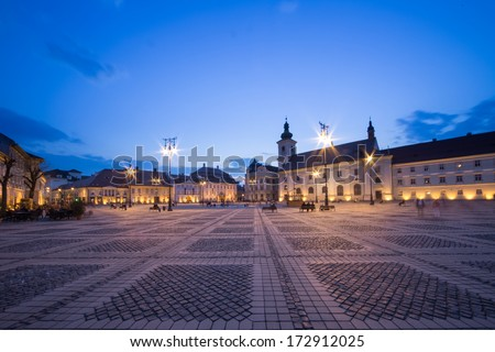 Great Square in Sibiu by night - stock photo