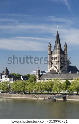Great St. Martin church and Rhine River in Cologne, Germany