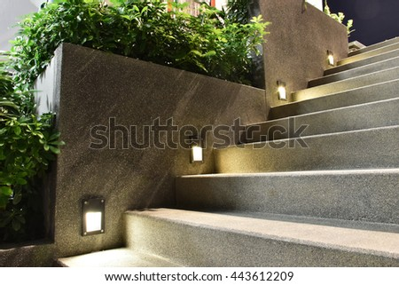 Great staircase with down light - stock photo