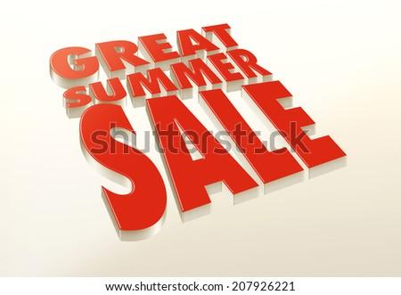 Great Summer Sale 3D logo, illustration - stock photo