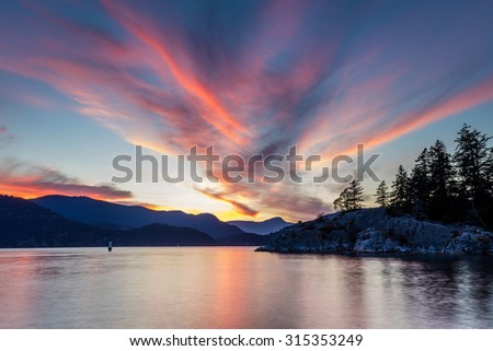 Great sunset sky with cool cloud formation at Whytecliff park, West Vancouver, British Columbia, Canada - stock photo