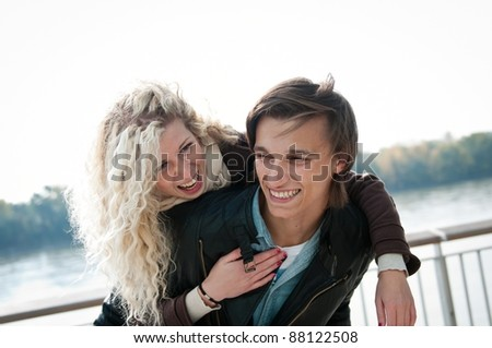 Great time - young couple together - stock photo